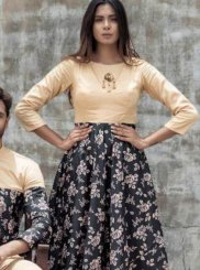 Abstract Print Multi Colour Party Wear Kurti