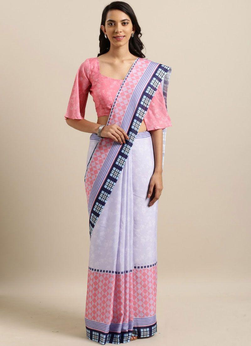 Abstract Print Multi Colour Printed Saree
