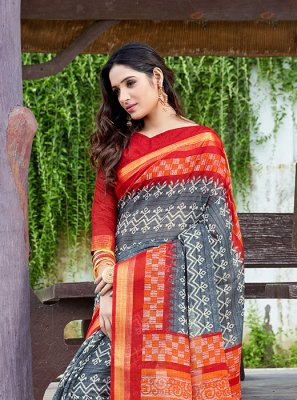 Abstract Print Net Multi Colour Printed Saree