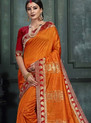 Abstract Print Orange Art Silk Designer Saree