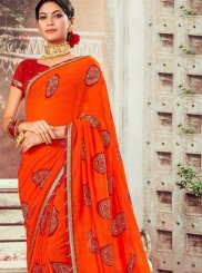 Abstract Print Orange Classic Saree