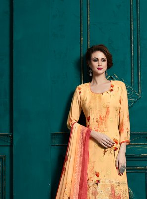 Abstract Print Orange Designer Palazzo Suit