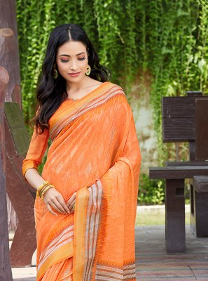 Abstract Print Orange Net Printed Saree
