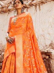 Abstract Print Orange Patola Silk  Classic Saree