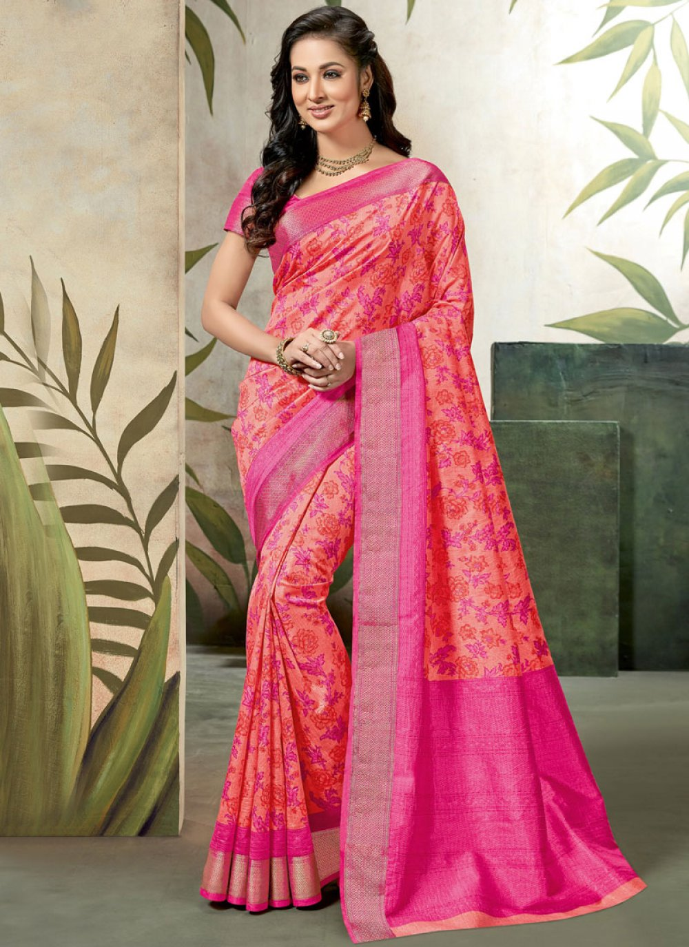 Abstract Print Pink Raw Silk Traditional Saree