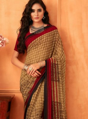 Abstract Print Printed Saree