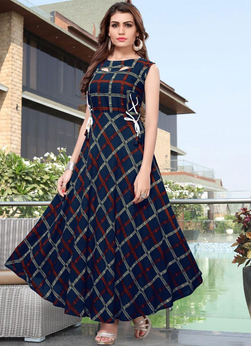 Abstract Print Rayon Casual Kurti