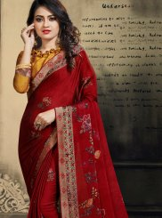Abstract Print Red Faux Chiffon Printed Saree