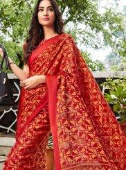 Abstract Print Red Printed Saree