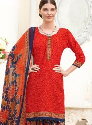 Abstract Print Red Punjabi Suit