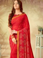 Abstract Print Red Weight Less Printed Saree