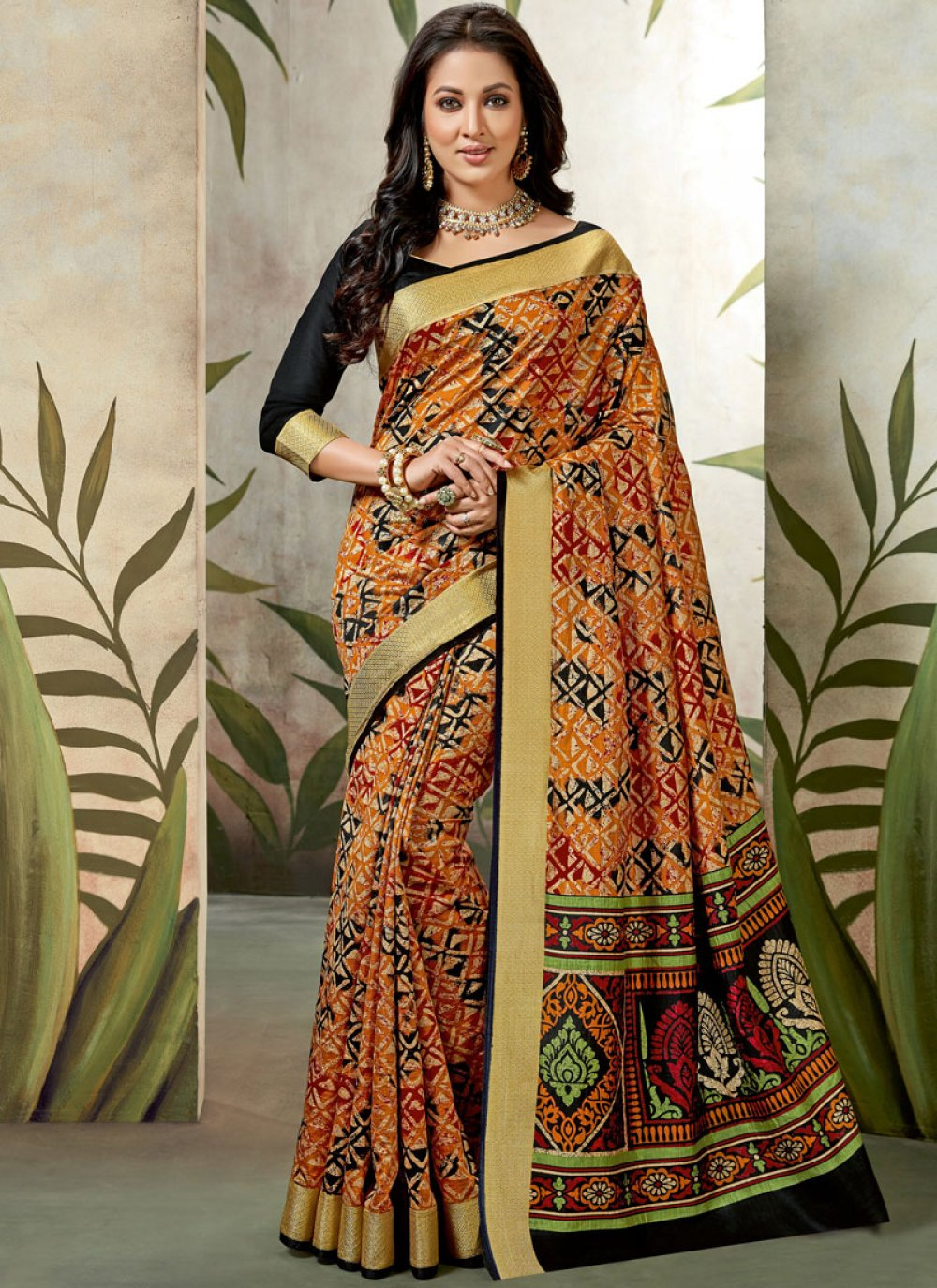 Abstract Print Traditional Saree