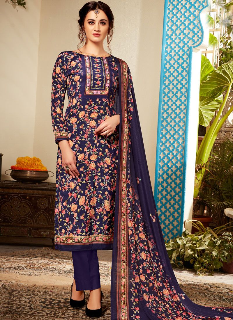 Abstract Print Viscose Pant Style Suit