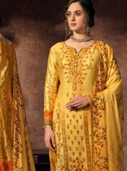 Abstract Print Yellow Designer Palazzo Suit