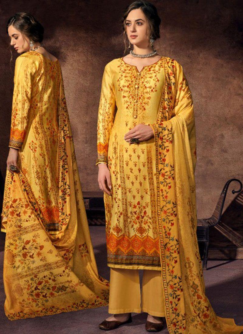 Abstract Print Yellow Designer Palazzo Suit