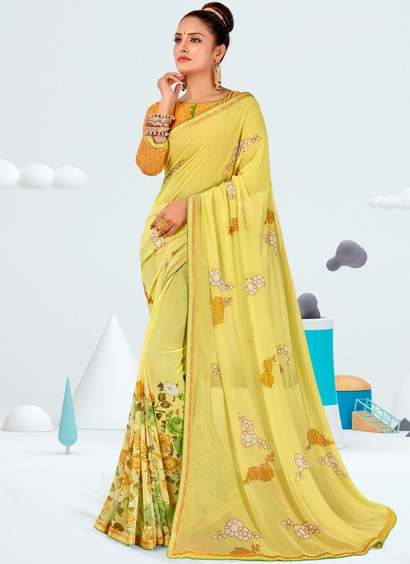 Abstract Print Yellow Faux Georgette Printed Saree