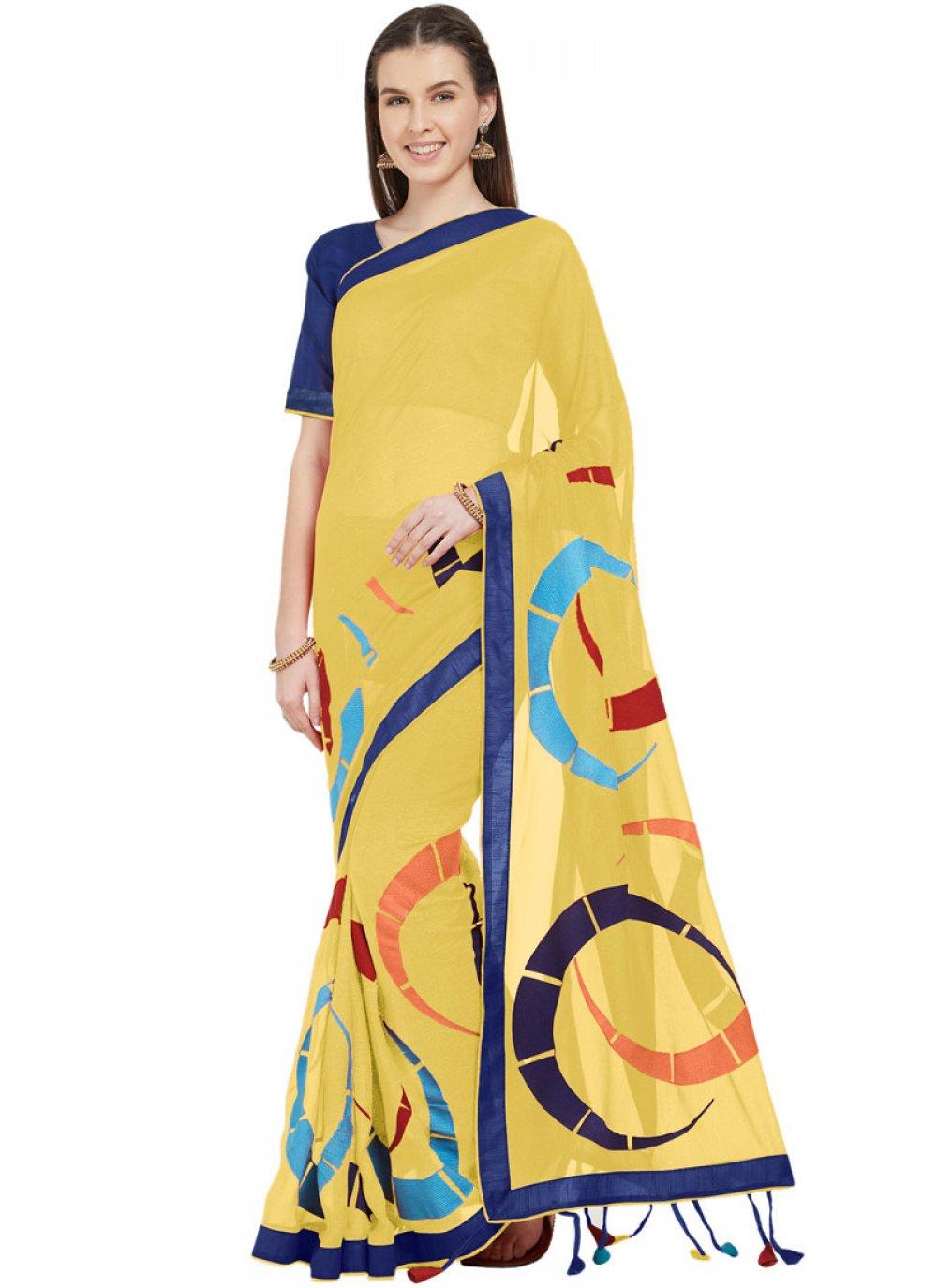 Abstract Print Yellow Printed Saree