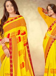 Abstract Print Yellow Weight Less Printed Saree