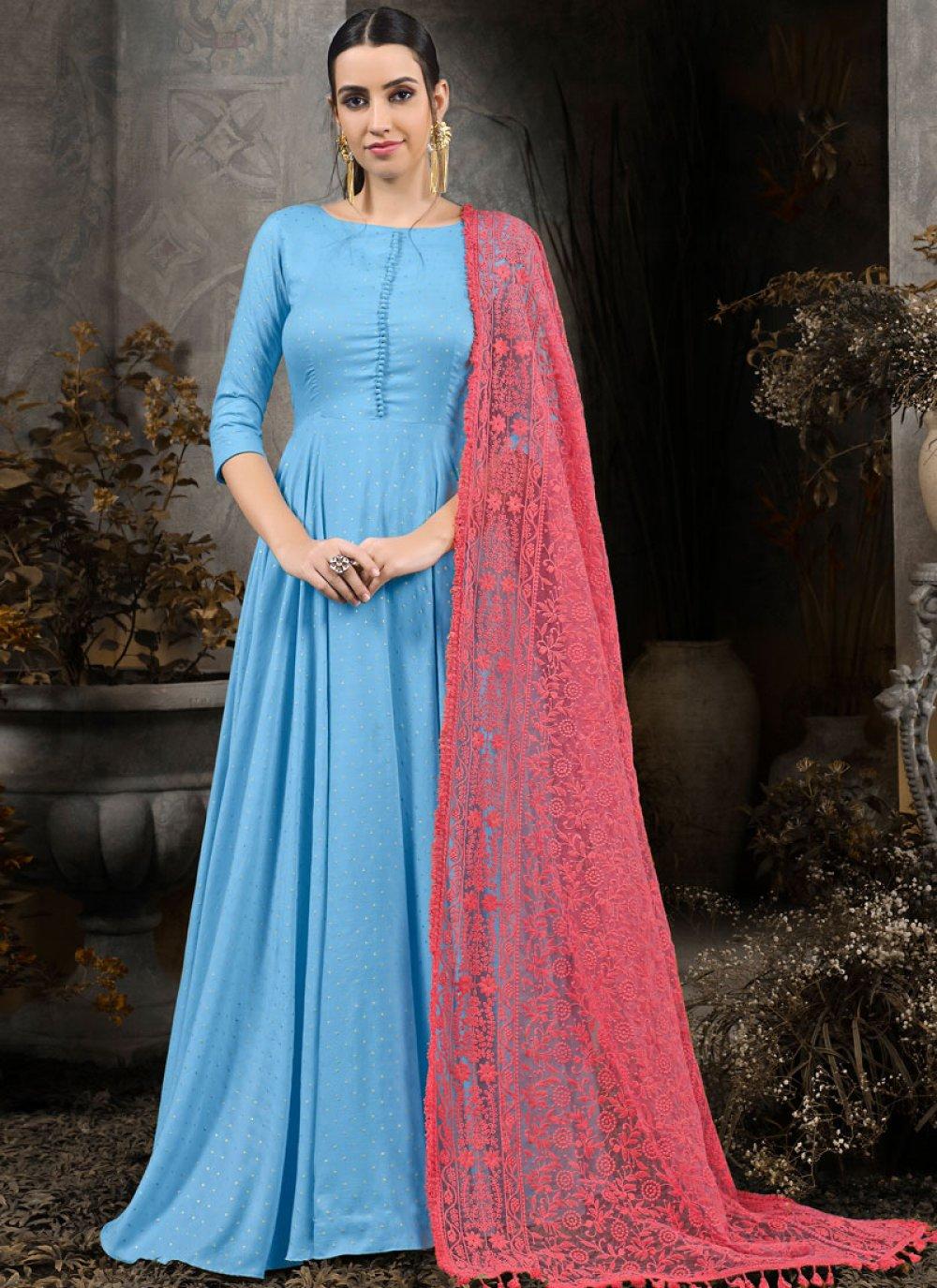 Anarkali Salwar Kameez Designer Maslin Cotton in Blue