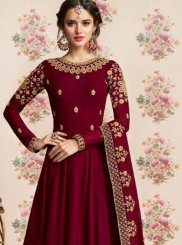 Anarkali Salwar Kameez Embroidered Georgette in Maroon