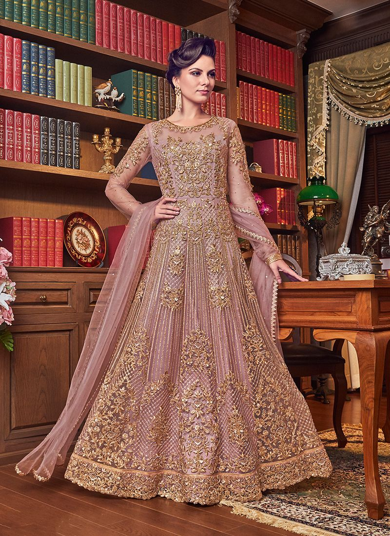 Anarkali Salwar Kameez Embroidered Net in Pink