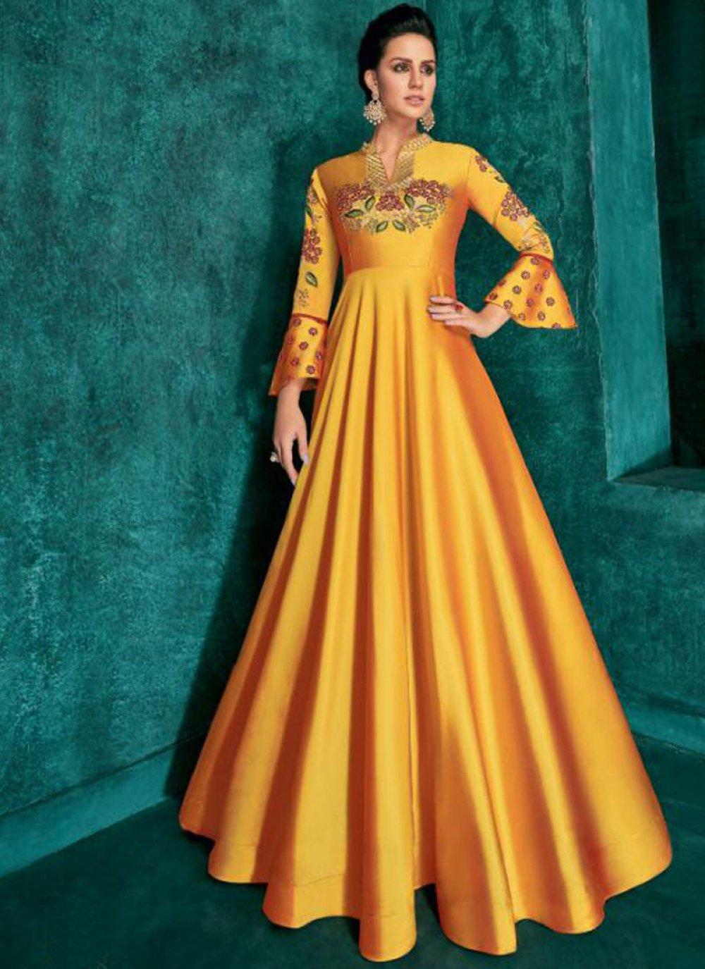 Anarkali Salwar Kameez Embroidered Silk in Mustard