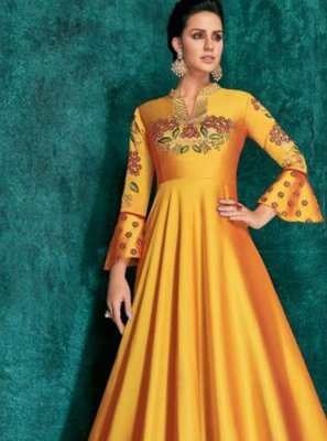 Anarkali Salwar Kameez Embroidered Silk in Mustard