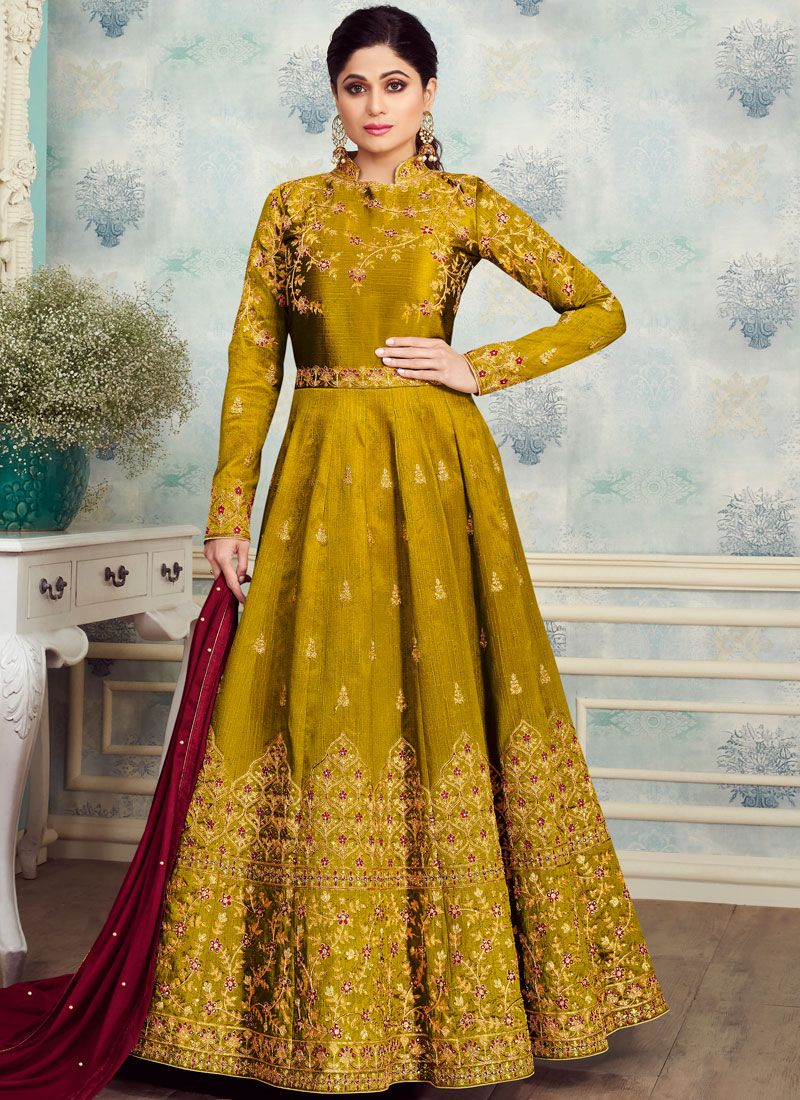 Anarkali Salwar Kameez Embroidered Silk in Sea Green