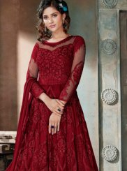 Anarkali Salwar Suit Embroidered Net in Maroon