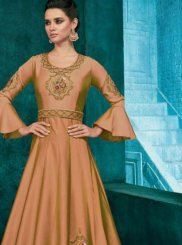 Anarkali Salwar Suit Embroidered Silk in Beige
