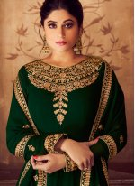 Anarkali Suit Embroidered Georgette in Green