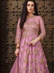 Anarkali Suit Zari Net in Pink