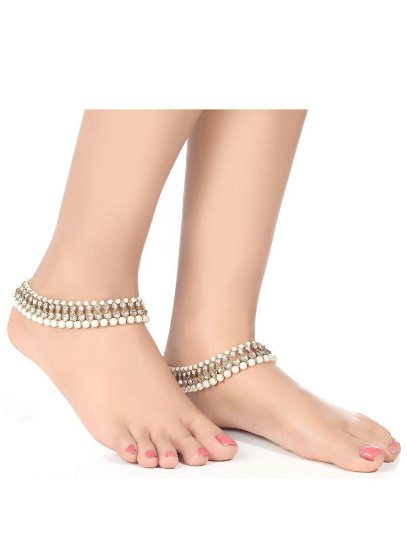 Anklet Kundan in White