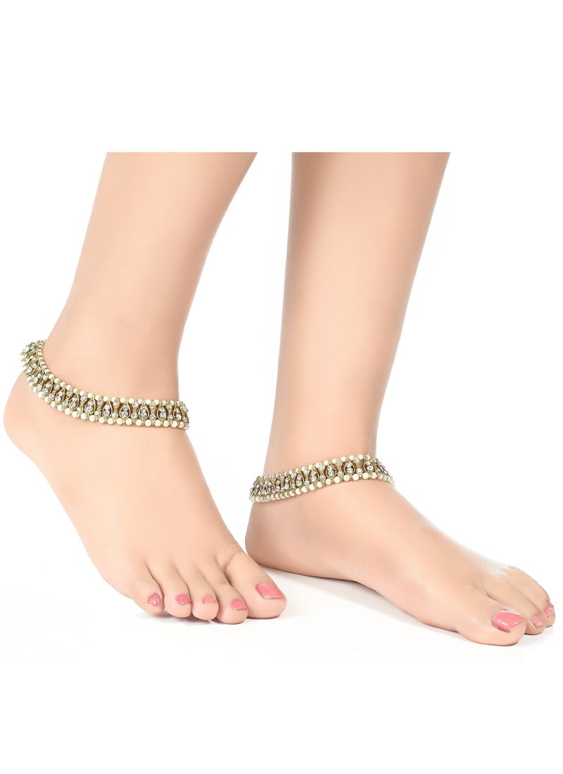 Anklet Pearls in Off White