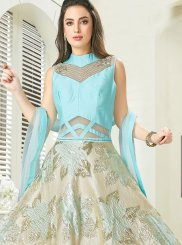 Aqua Blue and Gold Silk Anarkali Salwar Kameez