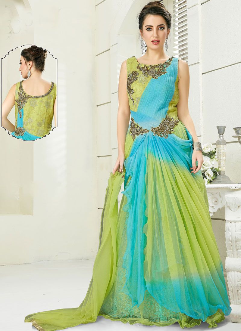 Aqua Blue and Green Embroidered Silk Anarkali Suit
