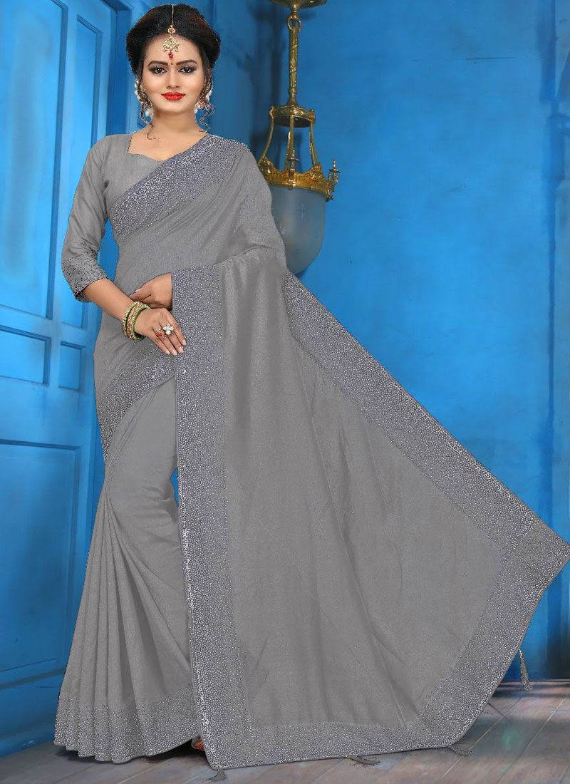 Aqua Blue and Grey Diamond Art Silk Designer Traditional Saree