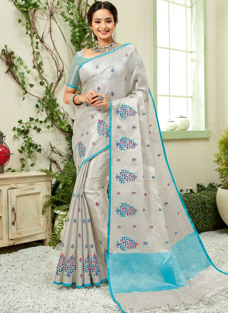Aqua Blue and Grey Party Fancy Fabric Trendy Saree