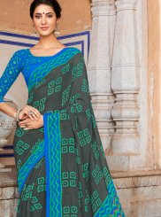 Aqua Blue and Grey Printed Georgette Casual Saree