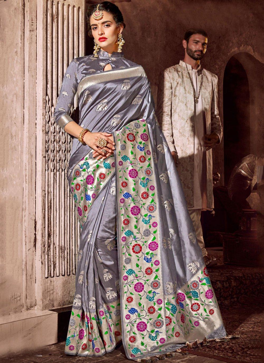 Aqua Blue and Grey Sangeet Classic Designer Saree
