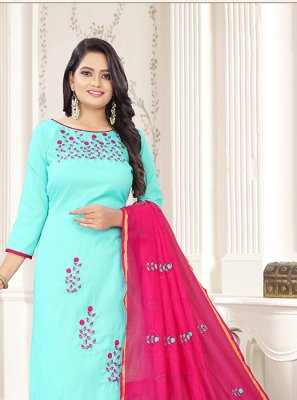 Aqua Blue and Magenta Color Churidar Salwar Kameez