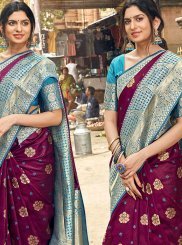 Aqua Blue and Maroon Reception Silk Saree