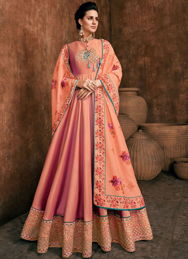 Aqua Blue and Peach Rayon Anarkali Salwar Suit
