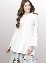 Aqua Blue and White Festival Party Wear Kurti