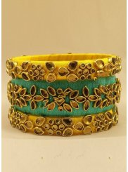 Aqua Blue and Yellow Stone Work Bangles