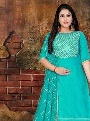 Aqua Blue Art Silk Lace Designer Salwar Kameez