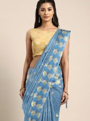 Aqua Blue Art Silk Weaving Classic Saree