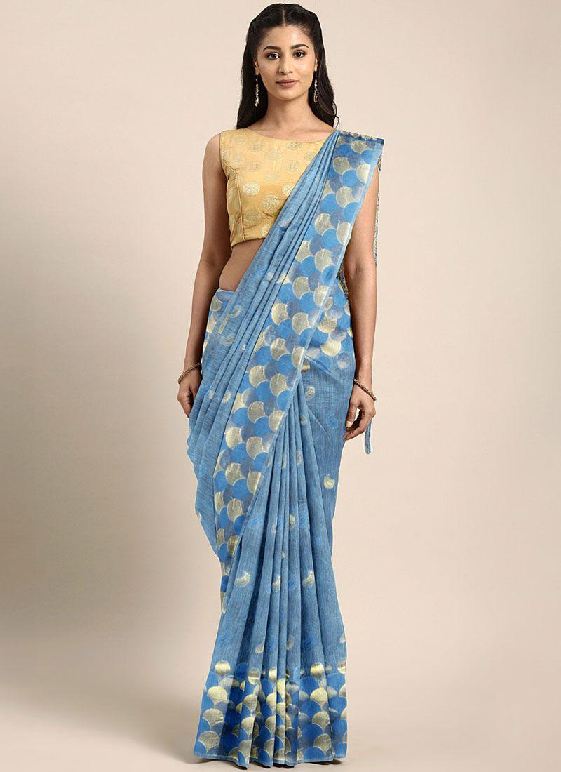 Aqua Blue Art Silk Weaving Classic Saree