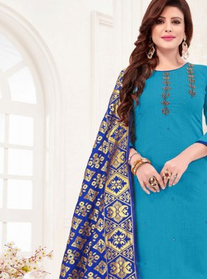 Aqua Blue Casual Trendy Churidar Salwar Suit