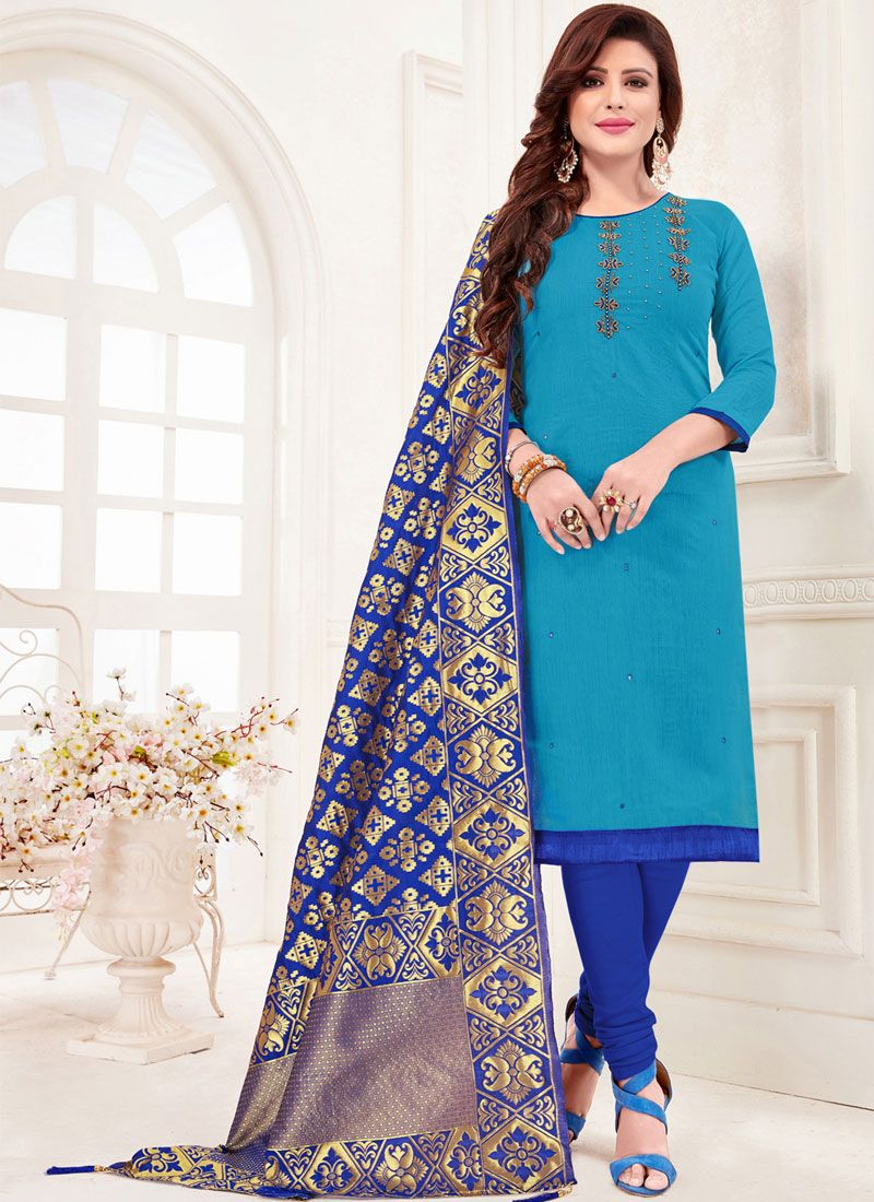 Aqua Blue Casual Trendy Churidar Salwar Suit